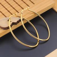 Aros ovalados 50 mm- Pareja pendientes acero dorado