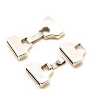 Cierre ZAMAK baño plata grapa clip para tira plana de 25 mm