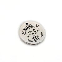 (Nombre) Eres un profe de 10 ¡¡ - Colgante zamak baño plata 19 mm (ZC432X)