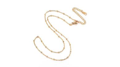 Cadena gargantilla choker acero inoxidable dorado de bolitas 2 mm - 41 cm + 7 cm extendedora