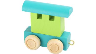 Articulo bebe - Tren de Letras - Vagon verde-turquesa 6x3x5.5 cm