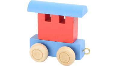 Articulo bebe - Tren de Letras - Vagon azul-rojo 6x3x5.5 cm