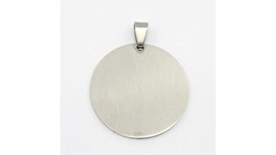 Colgante acero inoxidable moneda grande 43x36 mm, int 9x4 mm ( grabar)