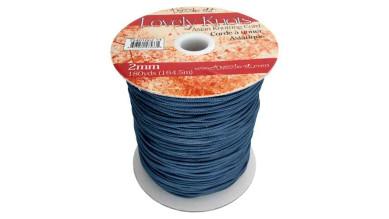 Cordon macrame Lovely Knots 2 mm - Azul marino - 1 metro