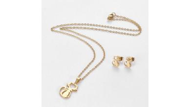Gato -Conjunto collar y pendientes de acero dorado