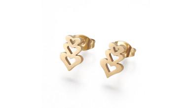 Tres corazones 10x7 mm - Pareja pendientes acero inoxidable dorado