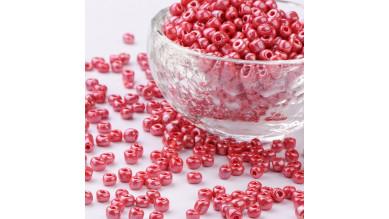 Rocalla cristal 6/0, 4 mm color rojo iridiscente (20 gramos)