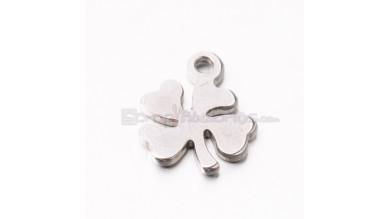 Trebol suerte (5 uds) - Colgante acero inoxidable 10x8 mm