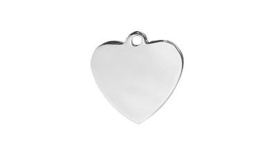Chapa acero inoxidable corazon doble pulido 20 mm para grabar