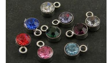 Colgante acero inoxidable cristal circonita mix colores 4 mm (5 uds)