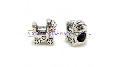 Abalorio carrito bebe 11x12 mm, taladro 5 mm