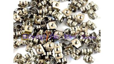 10 uds - Trasera pendientes acero inoxidable  6x4.5 mm