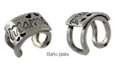 Base anillo ZAMAK baño plata Modelo MAMA calado  23x14 mm