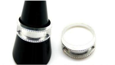 Base anillo cuadrado ZAMAK plateado 23x22 mm