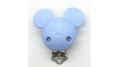 Pinza chupetero silicona 56x46 mm- Raton azul bebe