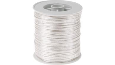 Cordon de saten 1 mm, color blanco ( 1 metro)