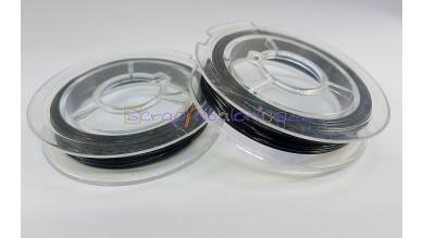 Hilo de acero plateado fino, grosor 0.45mm, Color negro (10 m)