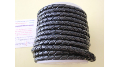 Cuero trenzado 100 cuero 5 mm color negro - 50 cm