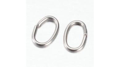 Anilla de acero inoxidable ovalada 7x5x1 mm (20 uds)