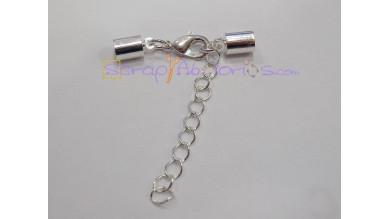 Cierre broche mosqueton y terminales plateado ( taladro 5 mm) - 3 sets