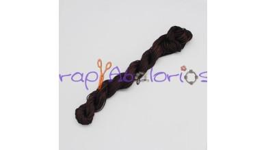 Cordon de nylon 1 mm macrame marrón  ( madeja 24 m)