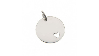 Colgante Plata de Ley lisa corazon para grabar 15 mm con anilla
