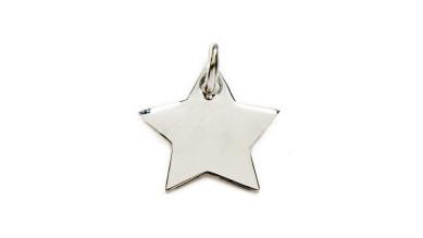 Colgante estrella mini Plata de Ley lisa para grabar 12x12 mm