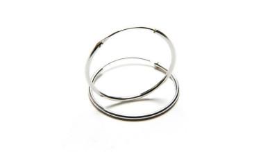 Pendiente plata de ley - Aro liso 25 x 1,2 mm (1 par)