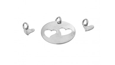 Base grabar conjunto corazon 25x21 y corazones 11x7mm - 3 pcs