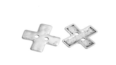 Entrepieza cruz boton martilleado 20x20 mm, int 2 mm