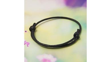 Pulsera algodon encerado 1.5mm negro ajustable 40-70 mm