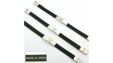 Pulsera cuero negro y acero (personalizable)