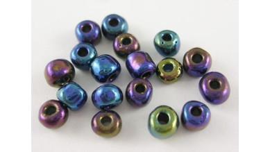 Rocalla cristal 6/0, 4 mm color negro iridiscente  (25 gramos)