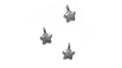 Colgante ZAMAK baño plata estrella mini 10x8 mm