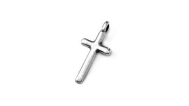 Colgante ZAMAK baño plata cruz pequeña 8x15 mm