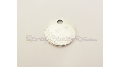 Colgante Zamak baño plata chapa para grabar 19  mm.