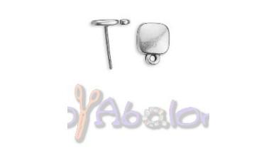 Pendiente Zamak baño plata cuadrado 11x8.5mm -1 par ( sin traseras)
