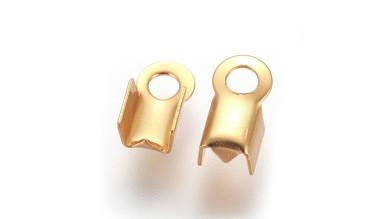 Terminales de acero dorado 8x4 mm para cordon 2 mm - 10 pcs