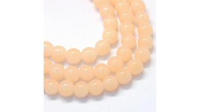 Hilera bolas de gema Jade Sintetico 6 mm color Nude (145 pcs aprox.)