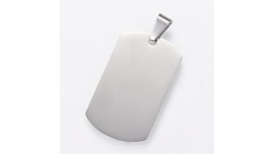Chapa acero inoxidable placa militar para grabar 40x23.5 mm, 2 mm grosor