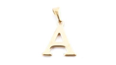 Inicial acero dorado - Letra A- Colgante 2 cm aprox