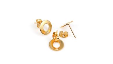 Pendientes acero inoxidable dorado circulo 10 mm - 1 par