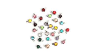 Colgante acero inoxidable circonita mix colores 8x6 mm- 5 uds