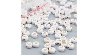 Abalorio redondos abecedario blanco letras Doradas 7 mm, int 1.5 mm (250 uds)