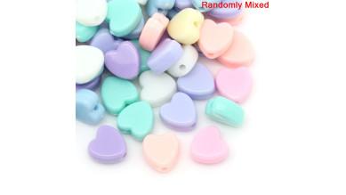 Abalorios corazones colores pastel 8 mm, int 1.5 mm ( 50 uds mix)