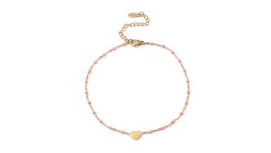 Tobillera corazon y bolitas esmalte rosa - Acero inoxidable dorado - 23 cm + extendedora corazones