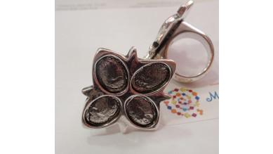 Base anillo ZAMAK plateado Modelo Flor 4petalos 41x38 mm
