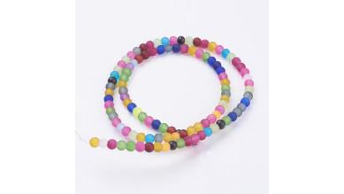 Hilera de bolas frosted ( mate) mix de colores 4 mm- 100 pcs apr