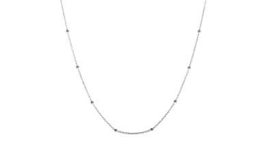 Cadena forzada gargantilla collar Plata de ley-  Con bolitas de 2 mm -38 cm