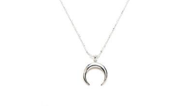 Collar media luna invertida (15 mm ) plata de ley (40 cm) plateado